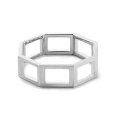 MEHEM silver square ring MH141-JR201-601 #mehem #ring #silver #square #rhodiumplated #em #emgrp