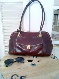Brown leather bag . Shoulder leather bag . Woman bag .