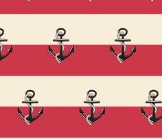 Anchor Stripes - Berry cream fabric by drapestudio on Spoonflower - custom fabric