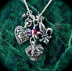 Queen of hearts sterling silver necklace by FlyingHeartStudios, $28.95