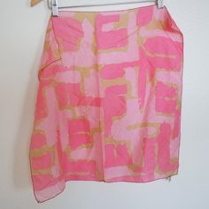 Vintage Atomic Print Pink Silk Vera Scarf by localevintage on Etsy