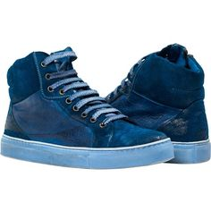 PAOLO IANTORNO Angelique Dip Dyed Indigo Blue Nappa Leather and Suede... ($349) ❤ liked on Polyvore featuring shoes, sneakers, indigo blue, dip dye shoes, high top trainers, suede high tops, suede shoes and suede high top sneakers