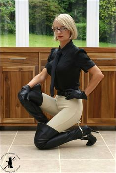 Riding pants thigh boots gloves