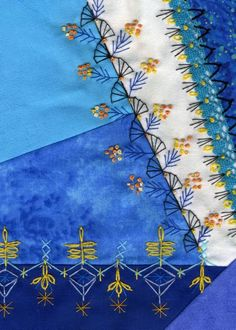 Stickamazonen: 3. Stickaufgabe Hand Embroidery Stitches, Embroidery Techniques, Embroidery Applique, Embroidery Patterns, Quilt Patterns, Crazy Quilt Stitches, Crazy Quilt Blocks, Crazy Quilting, Bordados E Cia