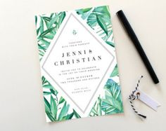 Botanical Wedding Invitations Tropical Wedding by TiedandTwo