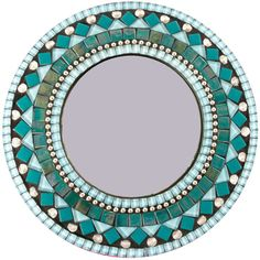 Round Wall Mirror in Aqua Turquoise Teal Mosaic Mirror Mixed Material... ($200) ❤ liked on Polyvore featuring home, home decor, mirrors, home & living, home décor, silver, turquoise home accessories, mosaic mirror, rectangular mirrors and turquoise home decor