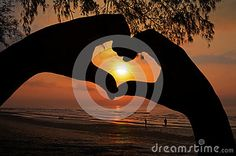 Photo about Romantic Sunrise in Hand Heart Frame on Beach View. Image of backlit, star, mood - 58145241 Hand Heart, Heart Hands, Heart Frame, Vectors, Sunrise, Romantic, Sign, Stock Photos, Beach