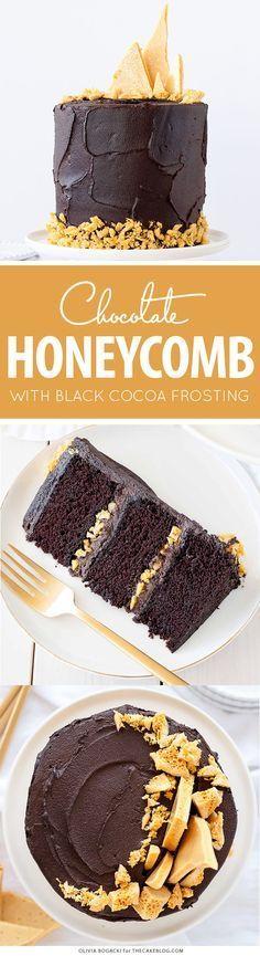 Dark Chocolate Honeycomb Cake - a rich chocolate layer cake recipe with ultra…