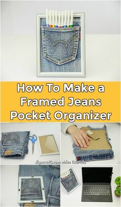 How To Make a Framed Jeans Pocket Organizer - DIY & Crafts