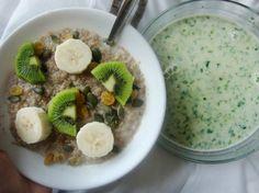 green smoothie bowl & oatmeal : Breakfast idea