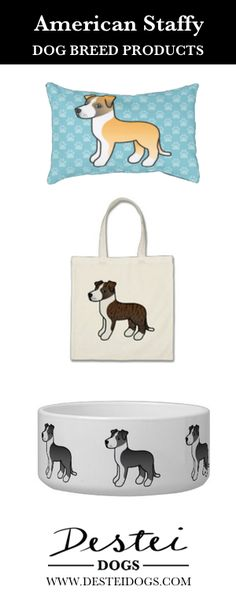Cute Cartoon American Staffordshire Terrier Dog Breed Products By Destei Dogs #americanstaffordshireterrier #staffy #amstaff #doggifts #cutedoggifts #dogproducts