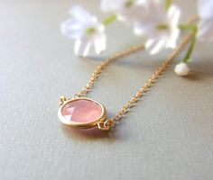 Pink Agate Necklace gold filled by CocoroJewelry on Etsy $26.00