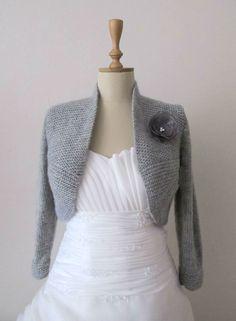 Grey Wedding Bolero Bridal Shrug Plus Size 3/4 von crochetbutterfly