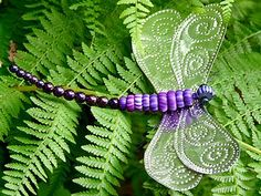 Punched tin and Gypsy Trade Beads - Dragonfly by gingerbread_snowflakes,