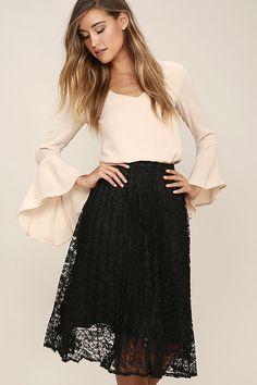 3a139467f08 Sway Hello Black Lace Midi Skirt