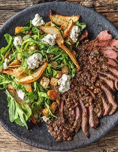 Easy Balsamic Rosemary Skirt Steak with Garlic Herb Toasts and a Roasted Pear Salad | More premium and date night recipes on blog.hellofresh.com