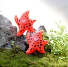 10 pcs Smiley dos desenhos animados resina estrelas do mar praia enfeites de jardim de fadas miniaturas terrário Jardin bonsai Decoração(China (Mainland))