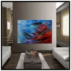 LARGE ARTWORK Original paintings red Blue abstract Modern Art Original Contemporary Art Deco Palette KNIFE Oversize canvas large artwork
