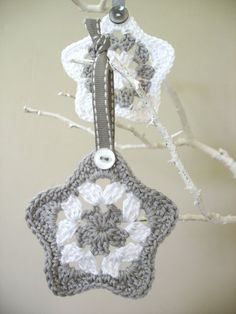 Christmas Holiday Star Decorations Grey and White, Crochet Christmas Star for 2013 Christmas