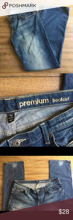 Gap Premium Bootcut 14 Long Size 14/32 Long Premium Bootcut.  Flat lay measurements:  33 inch inseam, 9 1/2 inch rise.  99% cotton, 1% spandex. Lightly worn, good condition. GAP Jeans Boot Cut