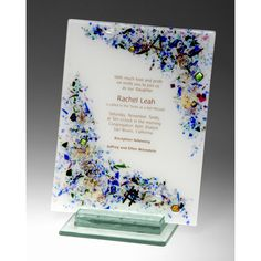 Beames Designs creates this Celestial Invitation Piece. Create a lasting memento of a special event, with this custom designed dichroic glass invitation or announcement plaque. Sara and Michael Beames