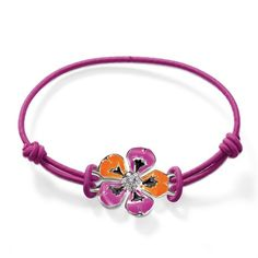 Thomas Sabo Bracelets Cheap Tropical Flower Cotton-rubber Bracelet Zirconia Purple Tropical Flowers, Purple Flowers, Rubber Bracelets, Thomas Sabo, Flower Bracelet, Purple Leather, Orange And Purple, Bling, Jewels