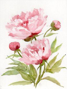 Peonies Original watercolor painting Floral by AquarellesNature
