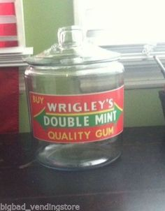 WRIGLEYS-CHEWING-GUM-Candy-General-Store-COUNTER-DISPLAY-GLASS-JAR-Wrigleys