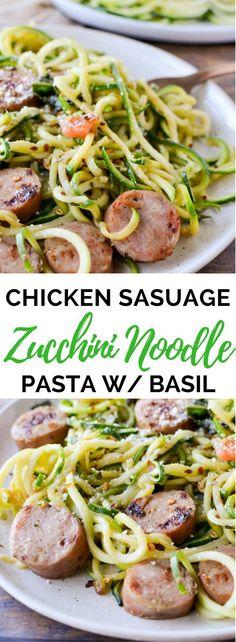 Zucchini Noodles with Chicken Sausage, Tomato, and Basil (Keto, Gluten Free – Videolu Tarif – Leziz Yemek Tarifleri – Videolu Yemek Tarifleri – Pratik Yemek Tarifleri Zucchini Noodle Recipes, Zoodle Recipes, Spiralizer Recipes, Zucchini Noodles, Paleo Recipes, Cooking Recipes, Chicken Noodles, Keto Noodles, Chicken Pasta