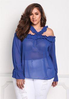 Plus Size Clothing | Plus Size Ruffle Cold Shoulder Chiffon Blouse | Debshops