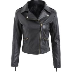 Zipper Fly Faux Leather Biker Jacket (€20) ❤ liked on Polyvore featuring outerwear, jackets, coats, rosegal, zipper jacket, vegan biker jacket, biker jacket, vegan moto jacket and faux leather biker jacket