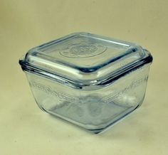New to ChicMouseVintage on Etsy: Glass Refrigerator Dish - Fire King Blue Philbe  w/ Lid - Anchor Hocking (18.00 USD)