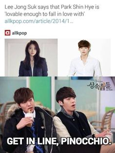 I'm screeching oh my god this is actually funny (on a side note I actually ship lee Jong suk and park shin hye) Blood Korean Drama, Korean Drama Funny, Korean Drama Quotes, W Kdrama, Kdrama Memes, Lee Jong Suk Funny, Jung Suk, Lee Jung, Drama Fever
