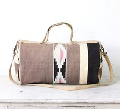 Kilim Ethnic Travel Bag, Turkish Wool, Vintage Leather