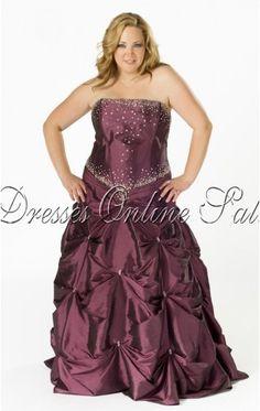 Alluring Ball Gown Floor-length Strapless Purple Taffeta Dress