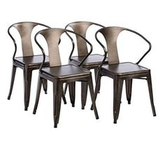 Tabouret Stacking Chair (Set of 4). This Set Of Dining Room Chairs Is Perfect For Adding A Vintage Look To Your Home. Crafted With A Solid Steel…