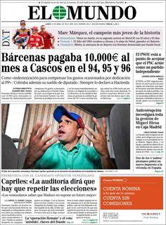 Los Titulares y Portadas de Noticias Destacadas Españolas del 22 de Abril de 2013 del Diario El Mundo ¿Que le parecio esta Portada de este Diario Español?