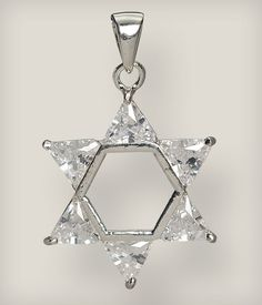 The Star of David in known in Hebrew as the Shield of David. Jewish tradition says that a young King David won a battle against King Nimrod using a shield with two interlocking triangles. This symbol has such deep significance for the Jewish people that the founders of the State of Israel chose the Star of David to adorn their nations flag. This pendant is sterling silver and is decorated with clear crystals. Sterling Silver. 1/2 inch pendant. CHAIN NOT INCLUDED.  Available at store.cufi...