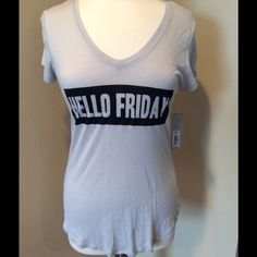 """""""Hello Friday"""" Graphic Tee Super soft v-neck tee, made from 100% rayon. Size Medium. Apt. 9 Tops Tees - Short Sleeve"""
