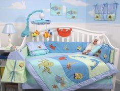 SoHo Dolphins Baby Crib Nursery Bedding Set 13 pcs included Diaper Bag with Changing Pad Bottle Case Baby Crib Sets, Baby Nursery Bedding, Crib Bedding Sets, Baby Bedroom, Baby Cribs, Nursery Boy, Ocean Themed Nursery, Baby Nursery Themes, Frog Nursery