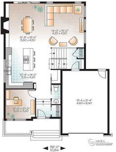Plano de casa moderna con 3 dormitorios y revestida en madera