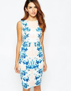 Lipsy Bodycon Dress With Puff Print Side Detail