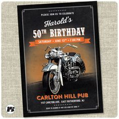 Motorcycle Biker Birthday Invitation card. - Printable by DeceptiveLines on Etsy