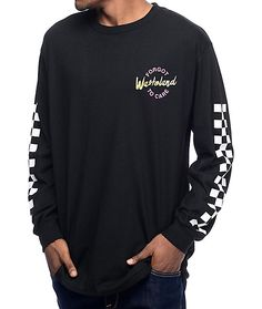 """The Forgotten Wasteland black t-shirt from Empyre features a magenta and yellow circular graphic on the left chest that reads """"Forgot To Care"""" and """"Wasteland"""" printed across the circular graphic. The back of this long sleeve tee shows a skateboarder silho"""