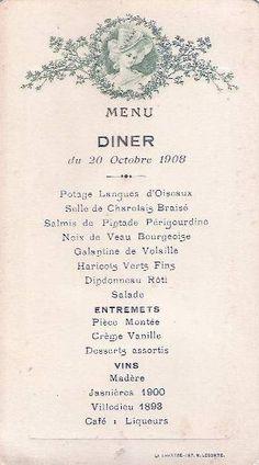 1908 French dinner menu