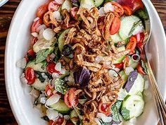 Cucumber Salad with Caramelized Shallots and Herbs