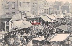 N LONDON ISLINGTON CHAPEL STREET OPEN AIR MARKET STALLS CROWDS c.1904