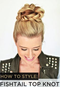 Try this fishtail top knot for your next night out! - Studentrate Trends - - Try this fishtail top knot for your next night out! Spring Hairstyles, Pretty Hairstyles, Braided Hairstyles, Wedding Hairstyles, Hairstyle Ideas, Glamorous Hairstyles, Updo Hairstyle, Hair Knot Tutorial, Diy Wedding Hair