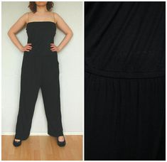 Romper jumpsuit with long legs summer elegant vintage overall Jumpsuits onesie size XL/18 large  black  one of a kind
