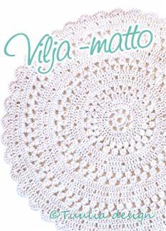 Tuulia desing - Soma pitsikuvioinen pyöreä matto, joka on halkaisijaltaan noin… Crochet Placemats, Crochet Carpet, Drops Design, Fun Projects, Crochet Hats, Pillows, Knitting, Diy, Carpet